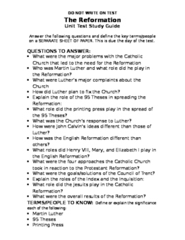 Reformation Unit Test and Study Guide