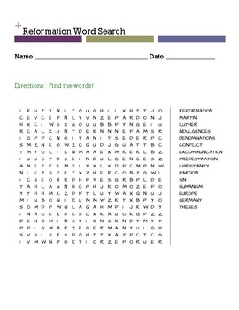 Reformation Word Search