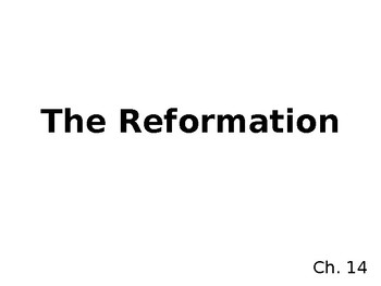 Reformation notes