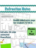 Refraction Notes PowerPoint and Student Notes Sheet