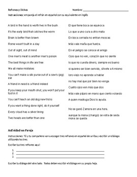 Refranes y Proverbios : Matching & Dialogue Worksheet
