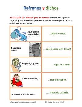 Refranes y dichos en español - Actividad 2 - Adagios, proverbs and sayings