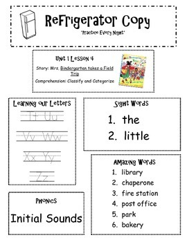 Refrigerator Copy {Unit 1-6 Kindergarten Scott Foresman Reading Street}
