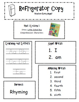 Refrigerator Copy {Unit 1-6 Kindergarten Scott Foresman Re