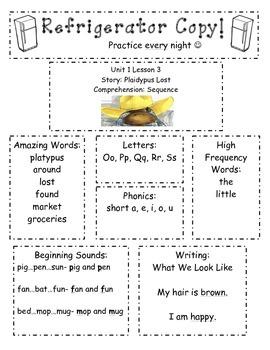 Refrigerator Practice Newsletter-Kindergarten Unit 1 Reading Street