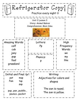 Refrigerator Practice Newsletter-Kindergarten Unit 2 Reading Street