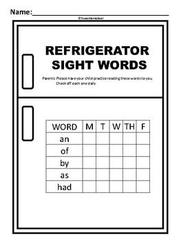 Refrigerator Sight Words First Grade