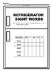 Refrigerator Sight Words Kindergarten