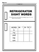 Refrigerator Sight Words Pre Kindergarten