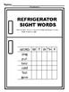 Refrigerator Sight Words Second Grade