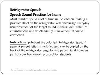 Refrigerator Speech Practice for /s/