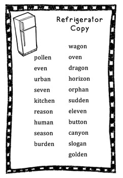 Refrigerator Spelling Lists - Editable