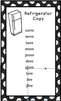 Refrigerator Spelling Lists - Editable