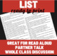 Refugee by Alan Gratz Reading Comprehension Questions/ Read Aloud Discussion