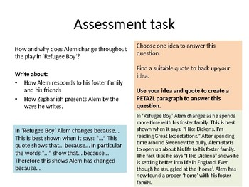 Refugee Boy Lesson 9 - Language and Assessment Task