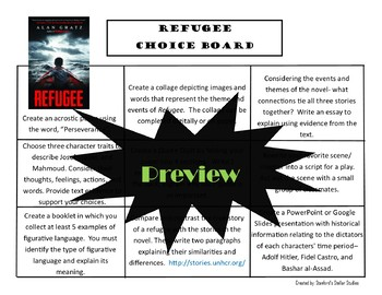 Refugee Choice Board Novel Study Activities Menu Book Project with Rubric