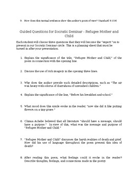 Refugee Mother and Child Questions w/ Socratic Seminar Question Stems