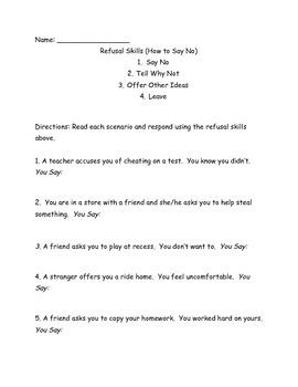 Refusal Skills/Say No Worksheet