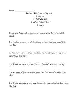 Refusal Skills/Say No Worksheet