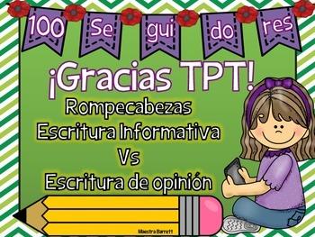 Regalo para los 100 Seguidores TPT Rompecabezas escritura informativa vs opinión
