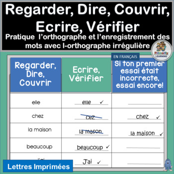 French: Regarder, Dire, Couvrir, Ecrire, Vérifier - Learn French sight words!