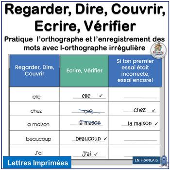 French: Regarder, Dire, Couvrir, Ecrire, Vérifier - Learn