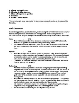 Regents Chemistry Course Syllabus & Grading Policy