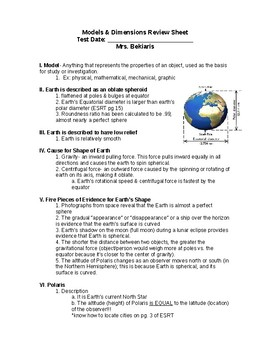 Regents Earth Science: Models & Dimensions of Earth