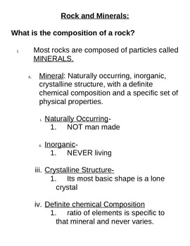 Regents Earth Science Rocks and Minerals Teacher Note Packet