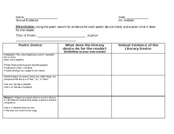Regents Review:  Poetic Devices Chart to be used with ANY poem