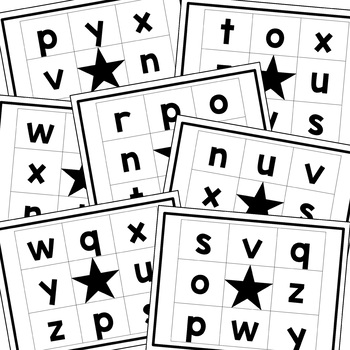Reggio Emilia Inspired Letter and Sound Bingo n-z Lowercase Letters