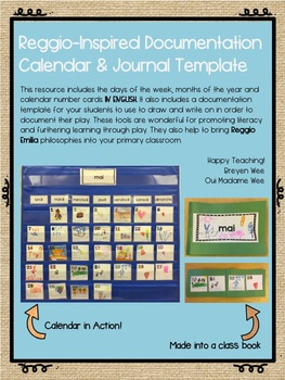 Reggio-Inspired Calendar Cards and Journal Template ENGLISH VERSION