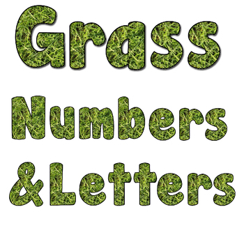 Reggio Inspired Natural Grass Alphabet and Numbers Clip Art