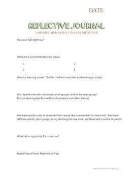 Reggio-Inspired Reflective Journal