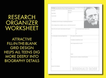Reginald Rose Author Study Worksheet, 12 Angry Men, Easy Biography Activity CCSS