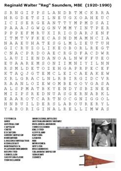 """Reginald Walter """"Reg"""" Saunders Aborigine Soldier Word Search"""