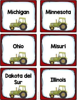 Región del Medio Oeste Tarjetas Capitales (Cinco Regiones de los Estados Unidos)