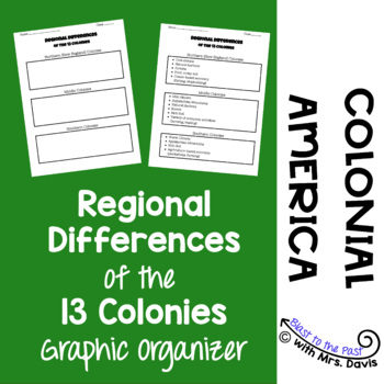 Regional Differences of the 13 Colonies- Graphic Organizer