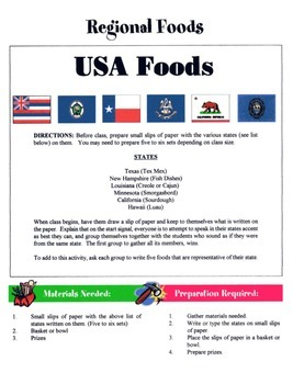 Regional Foods Game / Activity