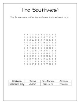 Regional State and Capital Word Searches