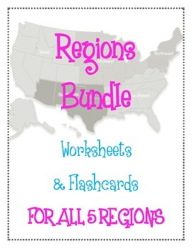 Regions Bundle!!! Worksheets and Flashcards for all five US Regions