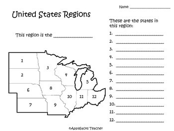 Regions, Capitals, and Abbreviations of the U.S. - Study Packet