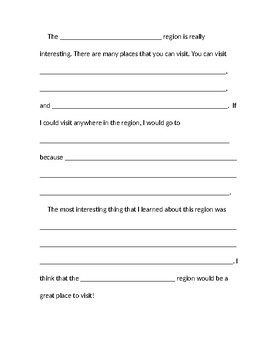 Regions Essay Template- Fill in the Blank