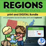 Regions Introduction Unit, Lapbook, Print & Digital Distance Learning Bundle