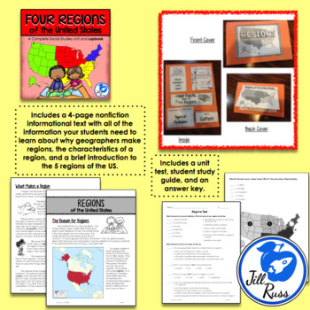 Regions Introduction Unit and Lapbook {Four Regions of the United States}