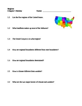 Regions Textbook Worksheets - Published by Pearson Scott Foresman