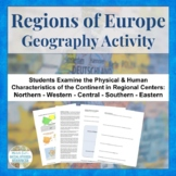 Regions of Europe Centers Activity for Geography or Culture Study
