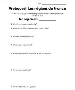 Regions of France Webquest Activity