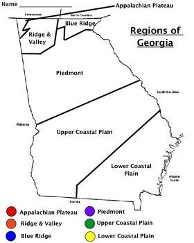 Regions of Georgia Map Worksheet