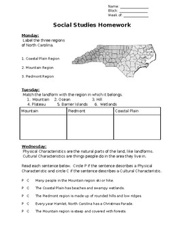 Regions of NC homework